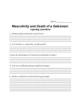 Masculinity in the Context of Death of a Salesman