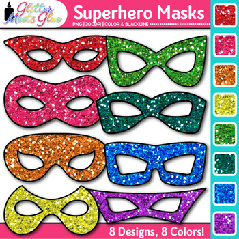 Halloween and Superhero Mask Clip Art {Photo Booth and Party Props}