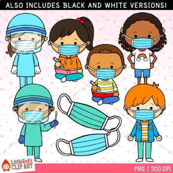 Mask Kids Covid 19 Clip Art By Littlered Teachers Pay Teachers