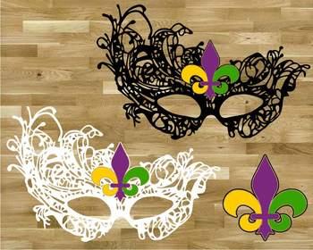 Mask Mardi Gras SVG Louisiana Fat Tuesday Carnival masquerade fleur de lis 1255s