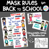 Mask Rules Posters for Back to School- Color and Blackline