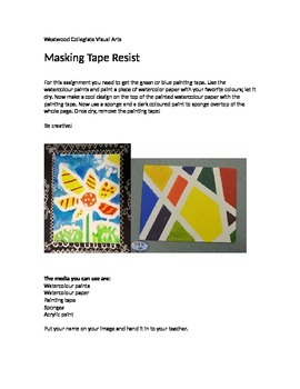 Masking Tape Resist- Special Needs