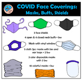 Masks, Face Shields, and Neck Buffs Clipart for COVID-19 S