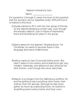 Maslow's Hierarchy Quiz