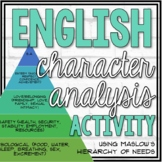 Maslow's Hierarchy of Needs Character Analysis Activity