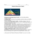 Maslow's Hierarchy of Needs Q&A Activity