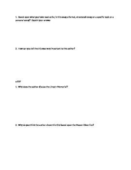 Mason-Dixon Memory Close reading questions