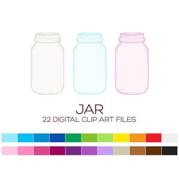 Mason Jar - 22 digital Mason jars / 1.5x2.5 inches - A70008