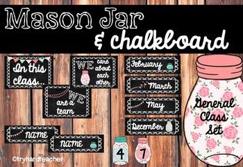 Mason Jar & Chalkboard Class Resource set- nameplates, tab