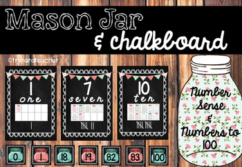 Mason Jar & Chalkboard Number Sense & Numbers to 100
