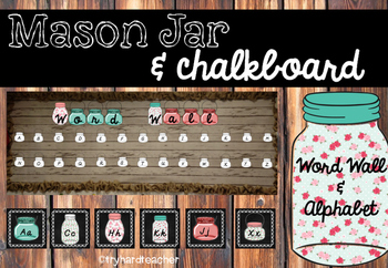 Mason Jar & Chalkboard Word Wall and Alphabet
