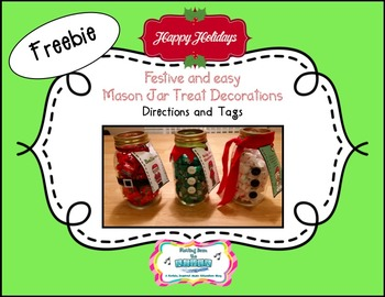FREEBIE Mason Jar Christmas Decorations or gifts with tags