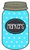 Mason Jar Classroom Labels -- Blue & White Dots