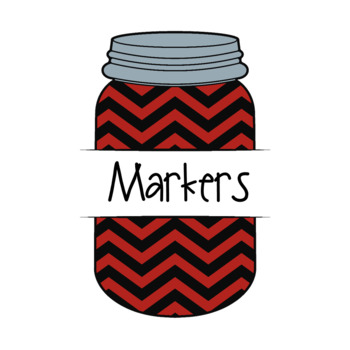 Mason Jar Classroom Labels -- Red & Black Chevron