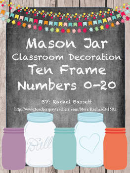 Mason Jar Classroom Theme Ten Frame Posters 0-20