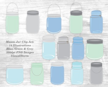 Mason Jar Clip Art - 14 Hand Drawn Canning Jar Illustrations