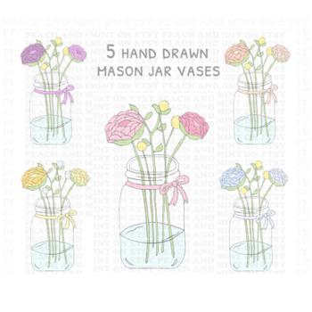 Mason Jar Clip Art - Mason Jar Clipart - Flowers Clip Art