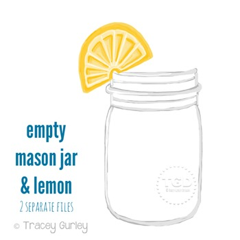 Mason Jar Clip Art - Mason jar with lemon Printable Tracey Gurley Designs