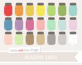 Mason Jar Clipart; Glass Jar, Shabby Chic, Rustic, Vintage