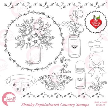 Mason Jar Clipart Digital Stamps, Shabby Chic, Floral stamp clipart, AMB-1821