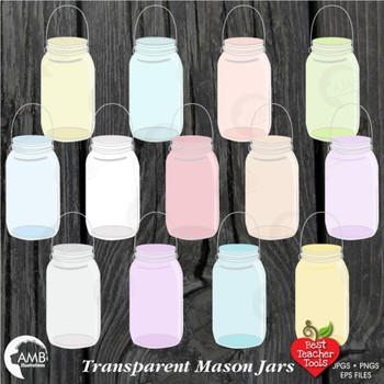 Mason Jar Clipart, Glass Jar Transparent Clipart, { Best Teacher Tools } AMB-978