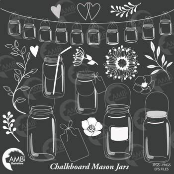 Mason Jar Clipart, Shabby Chic, Blackboard clipart, AMB-1821