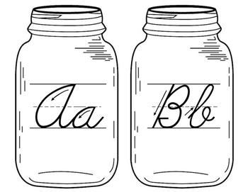 Mason Jar Cursive Alphabet
