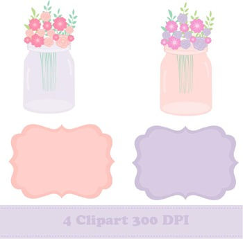 Mason Jar Digital Paper + Clipart