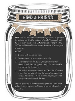 Mason Jar First Day Activities & Welcome Banner