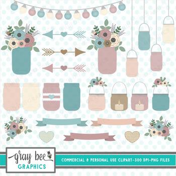 Mason Jar-Flowers-Candles-Clip Art Pack