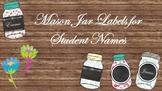Mason Jar Labels for Student Names