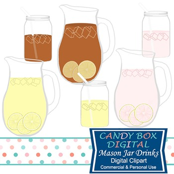 Mason Jar Lemonade and Iced Tea Clipart