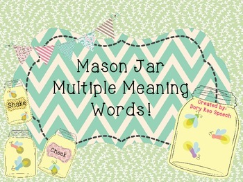 Mason Jar Multiple Meaning Words