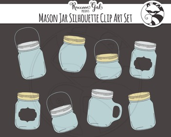 Mason Jar Silhouette Clip Art Set