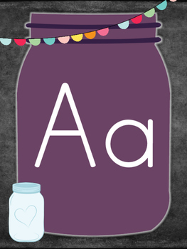 Mason Jar Theme Alphabet Posters (Print Clearly)