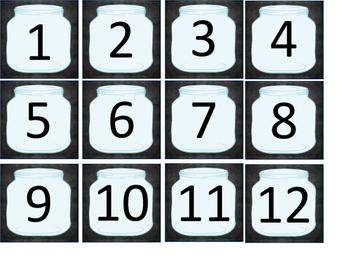 Mason Jar Theme Calendar Headers and Numbers