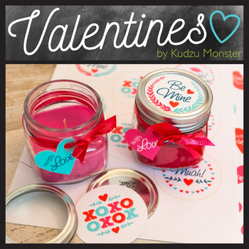 Mason Jar Valentine Label and Tag Assorted