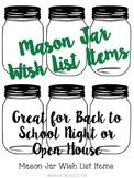Mason Jar- Wish Items