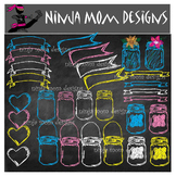 Mason Jar and Banner Chalkboard Clip Art in Many Colors