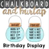 Mason Jars Birthday Display Chalkboard and Burlap Theme