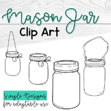 Mason Jars Clip Art; Black and White Bell Jar Clip Art