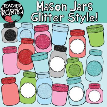 Mason Jars GLITTER STYLE Clipart BUNDLE