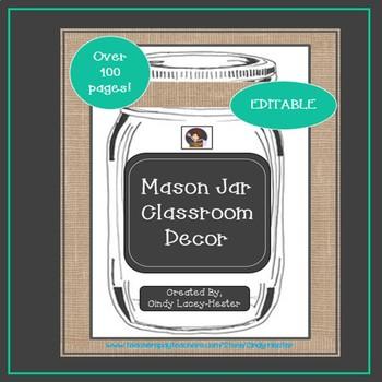 Mason Jar Classroom Decor - EDITABLE