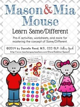 Mason & Mia Mouse: Same/Different