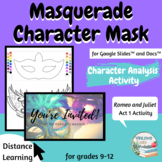 Masquerade Character Mask Project - Romeo & Juliet Activity