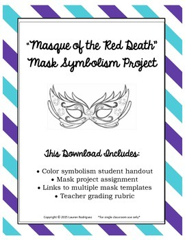 """Masquerade Mask Project with Symbolism and """"Masque of the"""