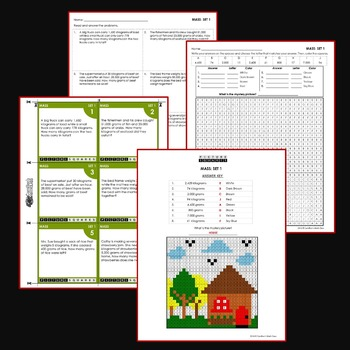 Mass Word Problems Coloring Worksheets