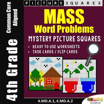 4th Grade Mass Word Problems Coloring Worksheets, Mass of Objects