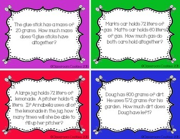 Mass & Capacity Word Problem Task Cards (Common Core Aligned) 3.MD.2
