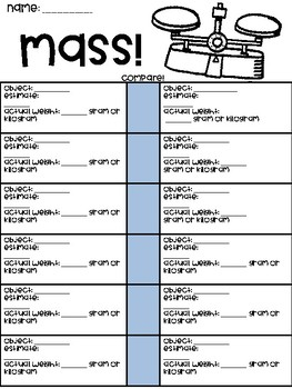 Mass Comparing Worksheet
